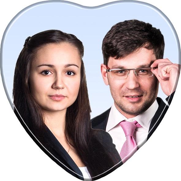 fotokeramika srce u boji s dvije osobe