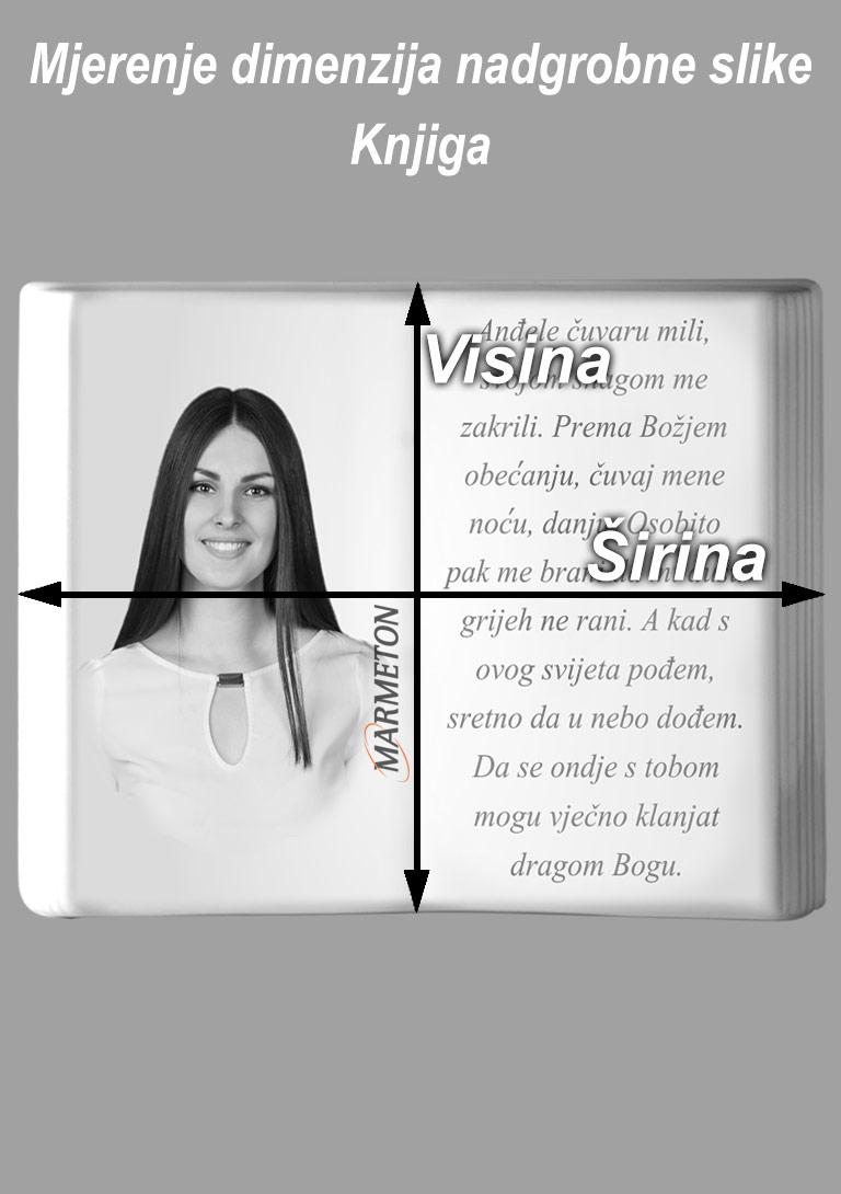 izmjera nadgrobne slike u obliku knjige