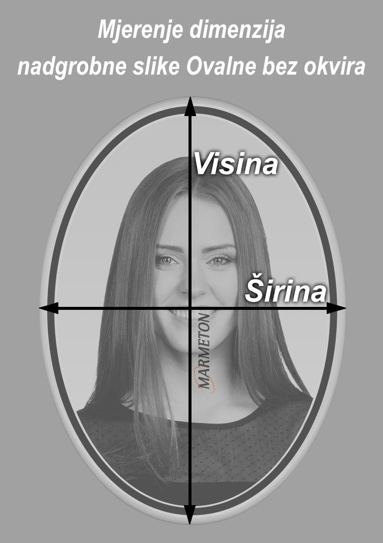 izmjera ovalne nadgrobne slike bez okvira