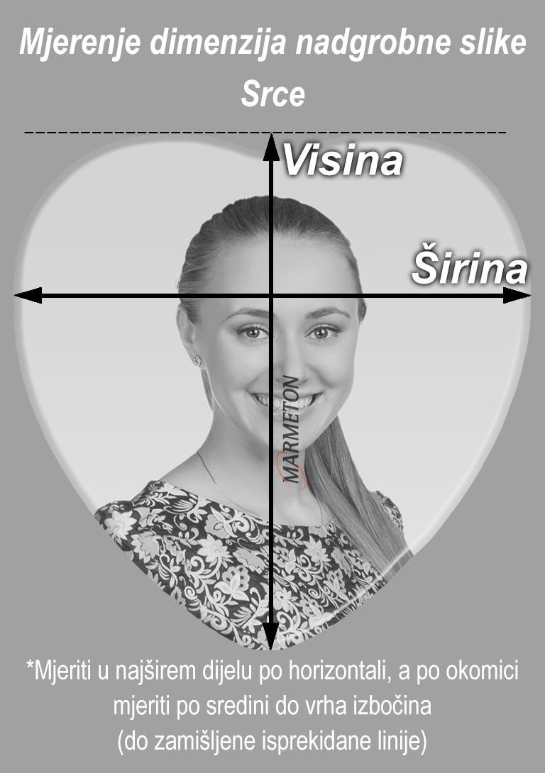 izmjera nadgrobne slike u obliku srca